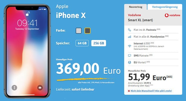 iPhoneX + Vodafone Smart XL