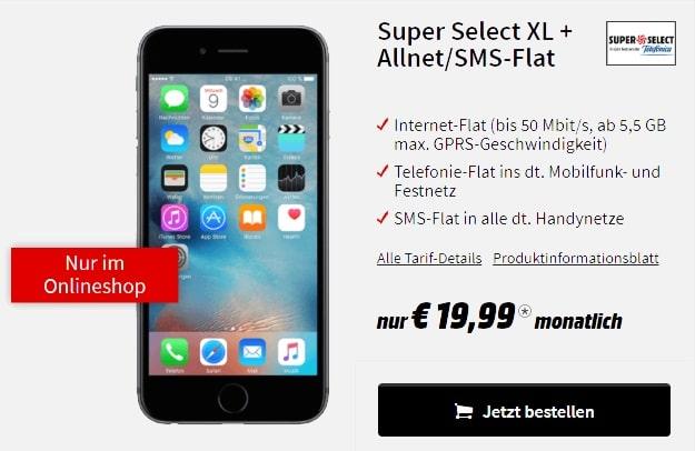 Apple iPhone 6 32GB SPace Grey + Super Select XL bei MediaMarkt