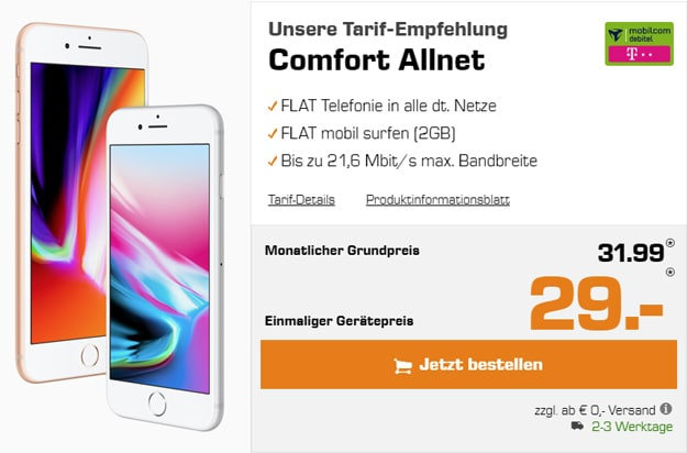 Apple iPhone 8 (Plus) mit mobilcom-debitel Allnet-Flat Comfort