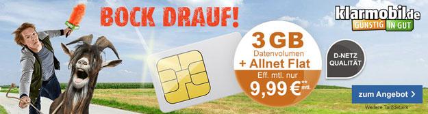 klarmobil Allnet-Flat Aktion für 9,99 € pro Monat