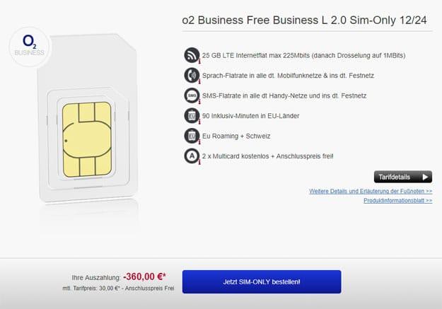 o2 free l business als sim only effektiv 15 mtl netto. Black Bedroom Furniture Sets. Home Design Ideas
