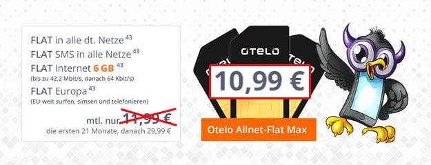 otelo Allnet-Flat Max für 10,99 € pro Monat in den ersten 21. Monaten