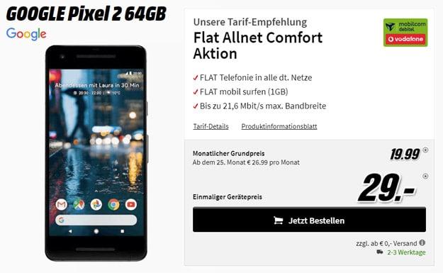 Google Pixel 2 mit Vodafone Flat Allnet Comfort mobilcom-debitel