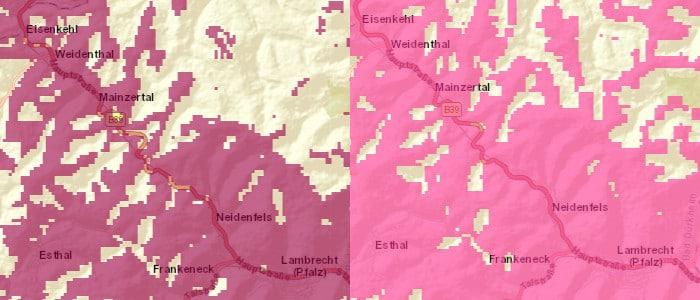 Telekom-Netz Ausbau-Beispiel, links 4G, rechts 2G