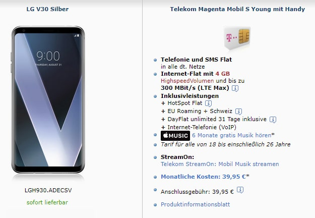 LG V30 mit Telekom Mobil S / S Young