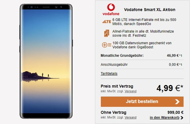 Samsung Galaxy Note 8 + Vodafone Smart XL