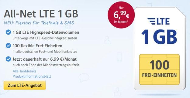 1&1 Web.de All-Net LTE mit 1 GB Datenvolumen und flexiblen Frei-Einheiten