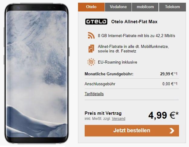 S8 + otelo Allnet-Flat Max LogiTel