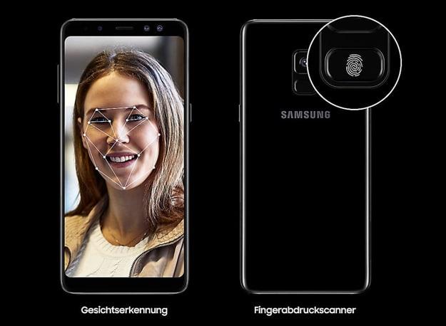 Samsung Galaxy A8 mit Gresichtserkennung und Fingerabdruckscanner