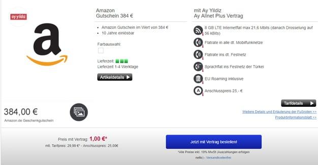 Ay Yildiz Ay Allnet Plus - mit Amazon Gutschein für 10 Jahre nutzbar