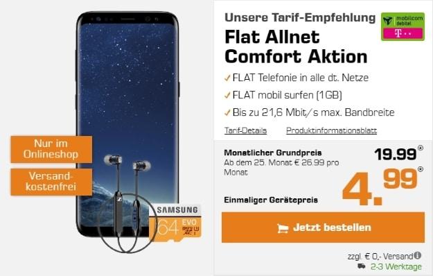 Samsung Galaxy S8 + Sennheiser CX 6.00 BT + Samsung EVO 64GB microSD + mobilcom-debitel Flat Allnet Comfort (md) bei Saturn