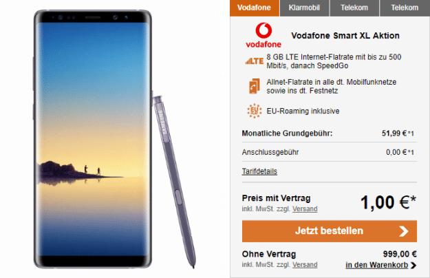 Galaxy Note 8 mit Vodafone Smart XL
