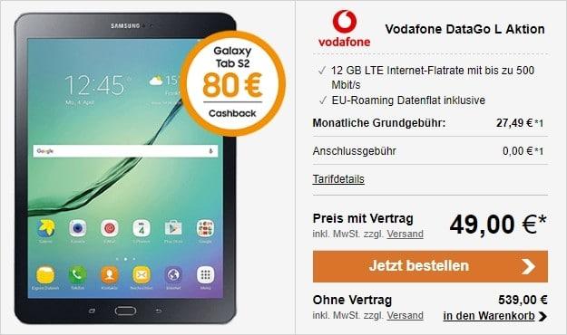 Samsung Galaxy Tab S2 9.7 LTE + Vodafone DataGo L bei Handyflash
