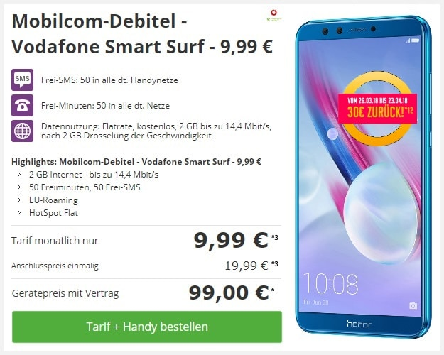 Honor 9 Lite mit Vodafone Smart Surf (md) bei Talkthisway