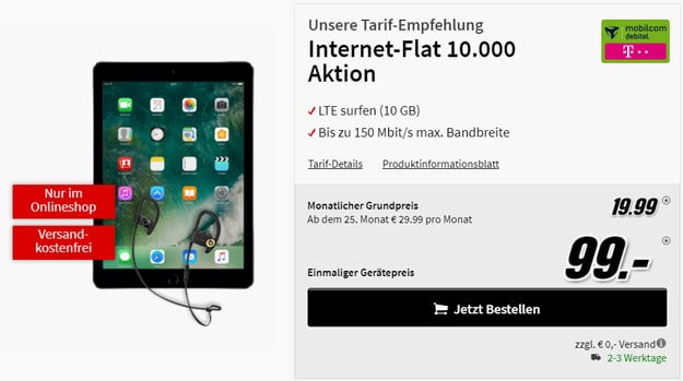 Apple iPad 32 GB Cellular WiFi mit Internet-Flat 10000 Telekom-Netz mit Powerbeats 3