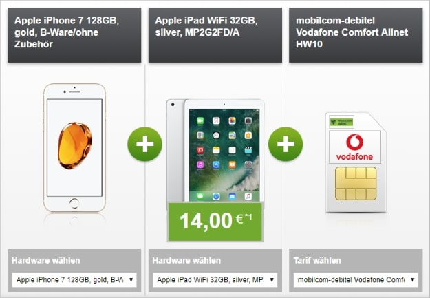 Apple iPhone 7 128GB (B-Ware) + iPad WiFi 32GB + Vodafone Comfort Allnet (md) bei modeo