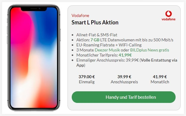 Apple iPhone X + Vodafone Smart L Plus bei Preisboerse24