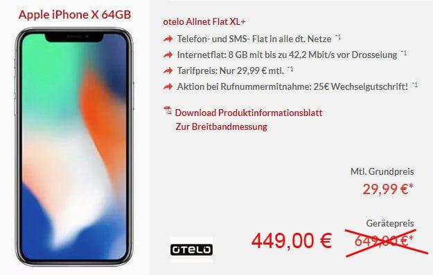 Apple iPhone X 64GB mit otelo Allnet-Flat Max