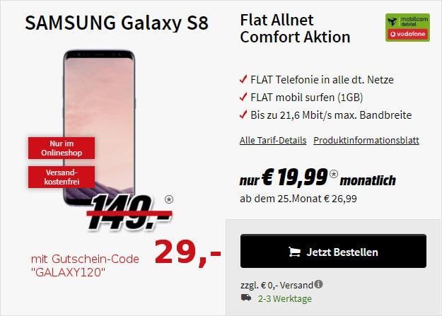 Samsung Galaxy S8 Md Vodafone Flat Allnet Comfort Eff Kostenlos