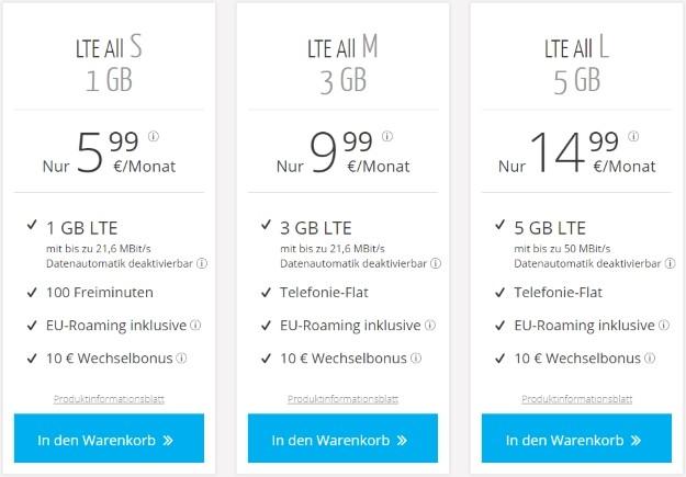 sim.de All LTE Tarife ab 5,99 €