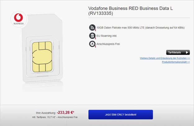 vodafone red business data l