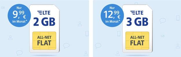1&1 Web.de Tarife im o2- und Vodafone-Netz mit oder ohne LTE