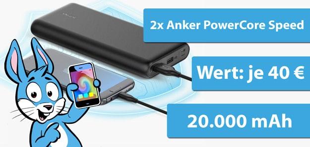 Anker PowerCore Speed 20000 mAh Powerbank Gewinnspiel