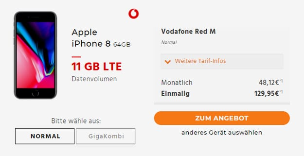 apple iphone 8 vodafone red m
