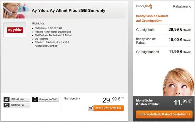 Ay Yildiz Allnet Plus Aktion zum Wochenende