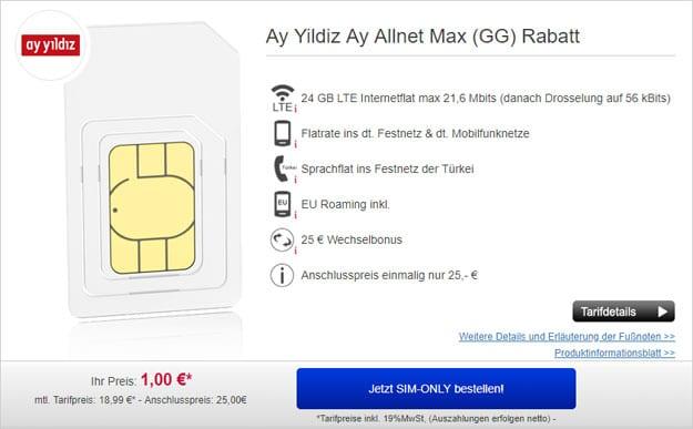 Ay Yildiz Ay Allnet Max mit 24 GB LTE mit nur 19,99