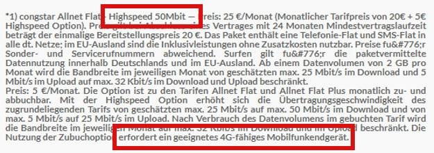congstar LTE-Hinweis bei Preisboerse24