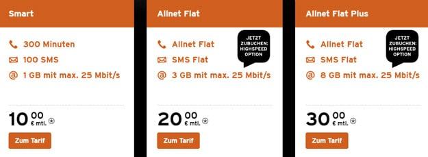 congstar LTE Option im Telekom-Netz, Allnet Flat und Allnet Flat Plus