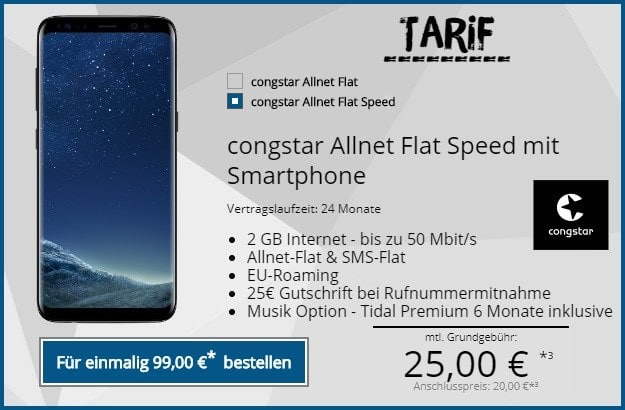 Samsung Galaxy S8 + congstar Allnet Flat (Speed) bei Tophandy