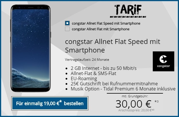 Samsung Galaxy S8 congstar Allnet Flat Speed bei Tophandy