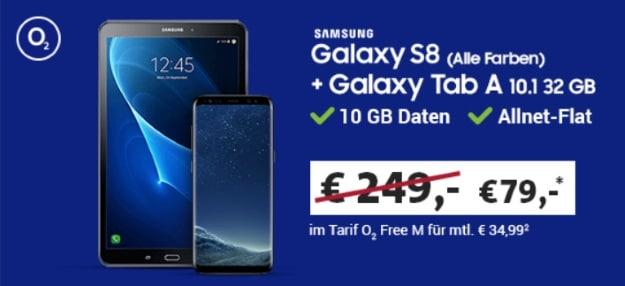 Samsung Galaxy S8 + Samsung Galaxy Tab A 10.1 LTE + o2 Free M bei Sparhandy