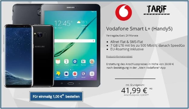 Samsung Galaxy S8 + Samsung Galaxy Tab S2 9.7 WiFi + Hama LEderhülle + Vodafone Smart L Plus bei TopHandy