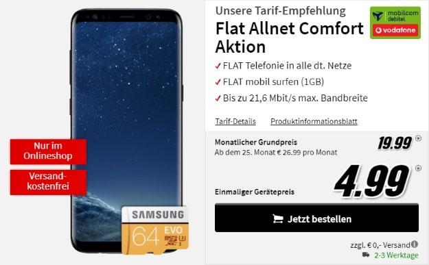 Samsung Galaxy S8 + Vodafone Flat Allnet Comfort (md) bei MediaMarkt