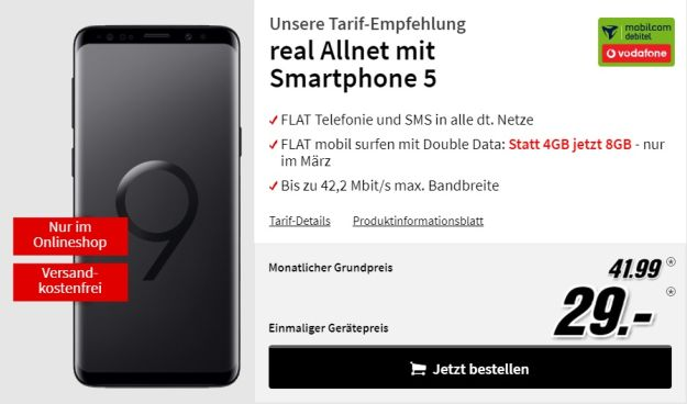 Samsung Galaxy S9 mobilcom-debitel real Allnet (Telekom) bei MediaMarkt