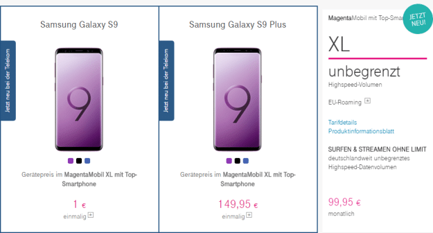 Galaxy S9 (Plus) mit Magenta Mobil XL