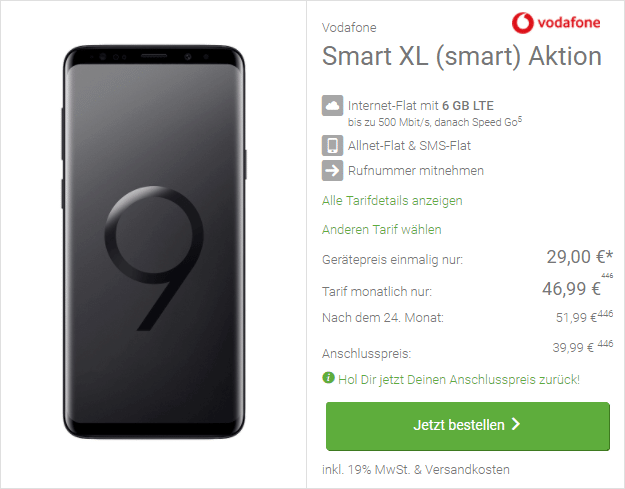 Samsung Galaxy S9 Plus + Vodafone Smart XL bei DeinHandy