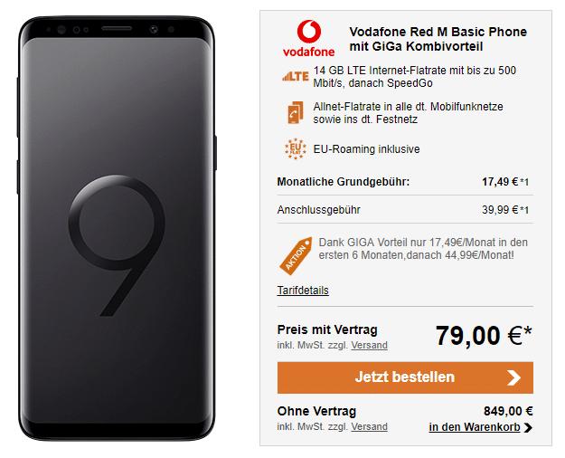 Galaxy S9 Vodafone Red M Giga-Kombi bei LogiTel