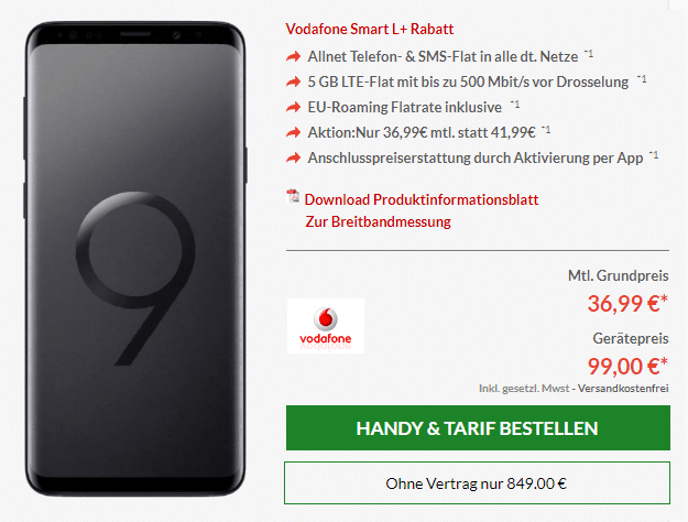 Galaxy S9 mit Vodafone Smart L Plus bei Preisboerse24