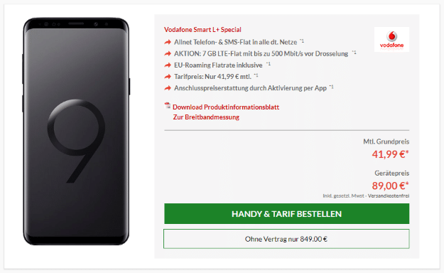Galaxy S9 Vodafone Smart L Plus Aktion Preisboerse24