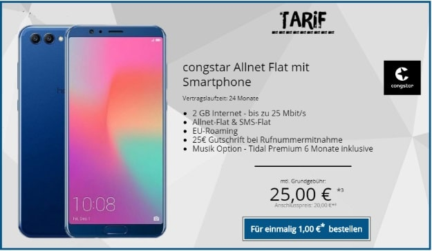 Honor View 10 + congstar Allnet Flat bei Topdeals