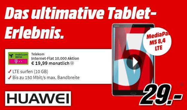 Huawei MediaPad M5 LTE + Interet-Flat 10.000 (md) bei MediaMarkt