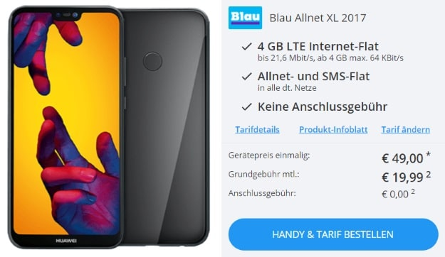 Huawei P20 Lite + Blau Allnet XL bei Sparhandy