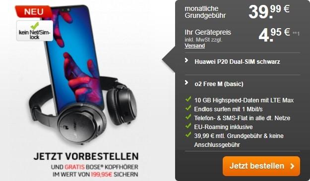 Huawei P20 + o2 Free M Vorbesteller-Aktion bei Handyflash