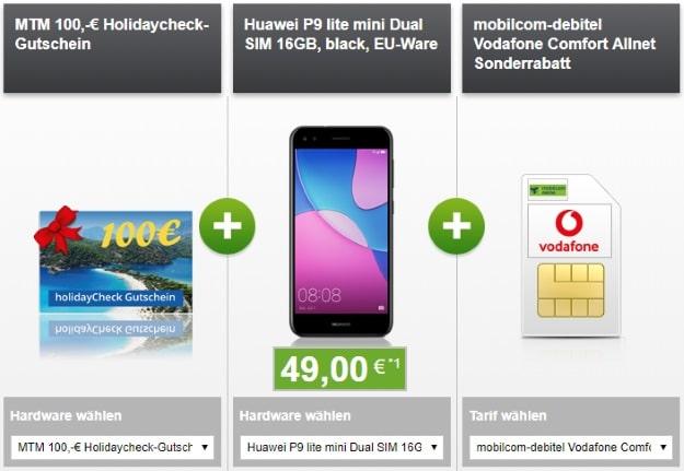 Huawei P9 Lite Mini + 100 € Holidaycheck + Vodafone Comfort Allnet (md)