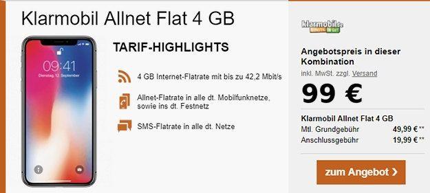 iPhone X + klarmobil 4GB Tarif