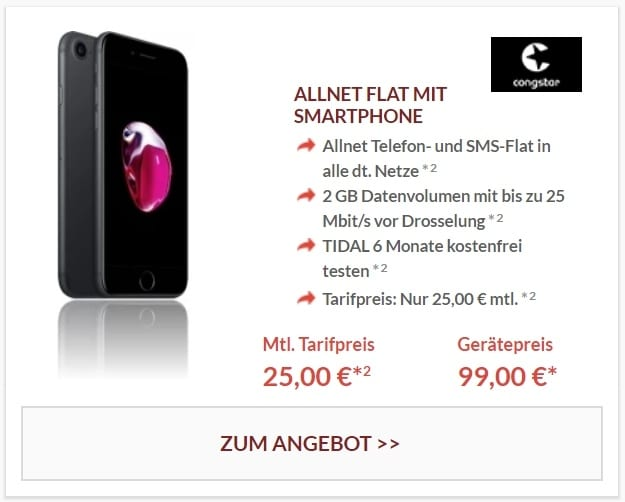 Apple iPhone 7 32GB + congstar Allnet-Flat bei Preisboerse24